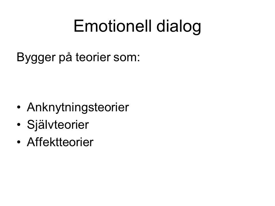 Emotionell dialog Bygger på teorier som: Anknytningsteorier