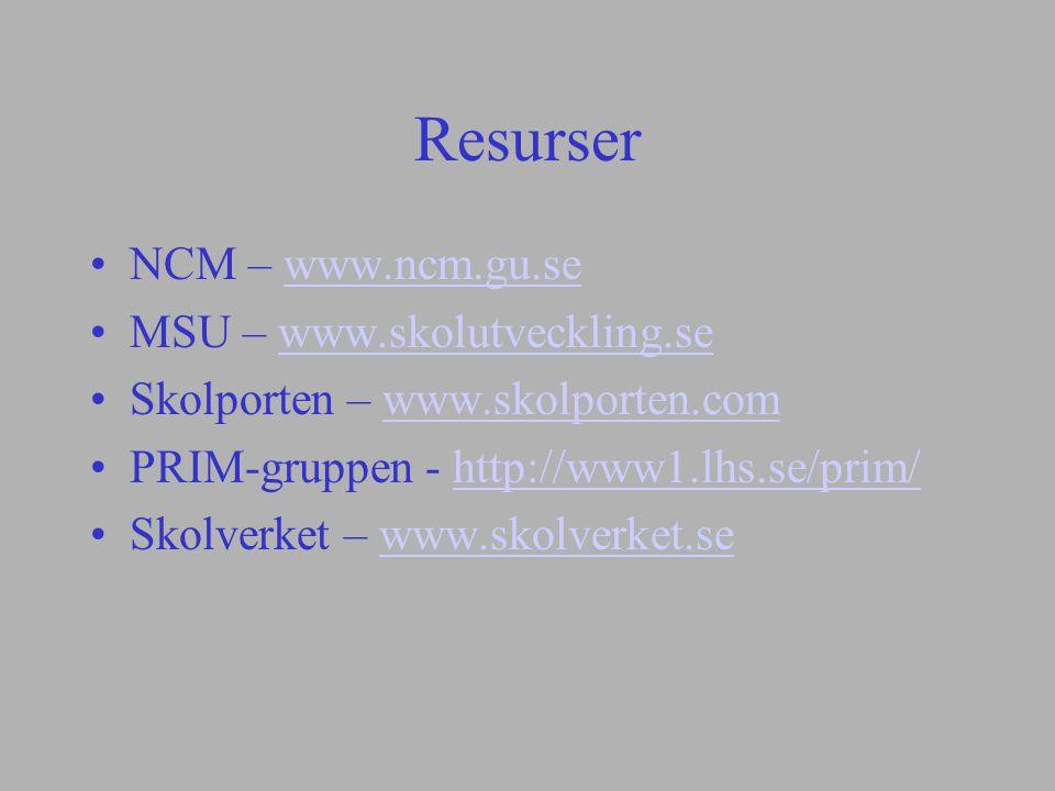Resurser NCM – www.ncm.gu.se MSU – www.skolutveckling.se