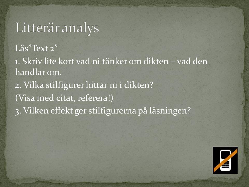 Litterär analys Läs Text 2