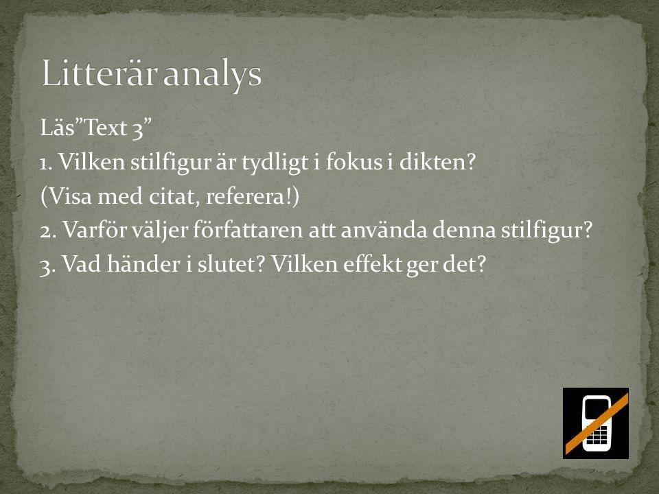 Litterär analys Läs Text 3