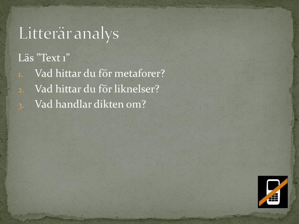 Litterär analys Läs Text 1 Vad hittar du för metaforer