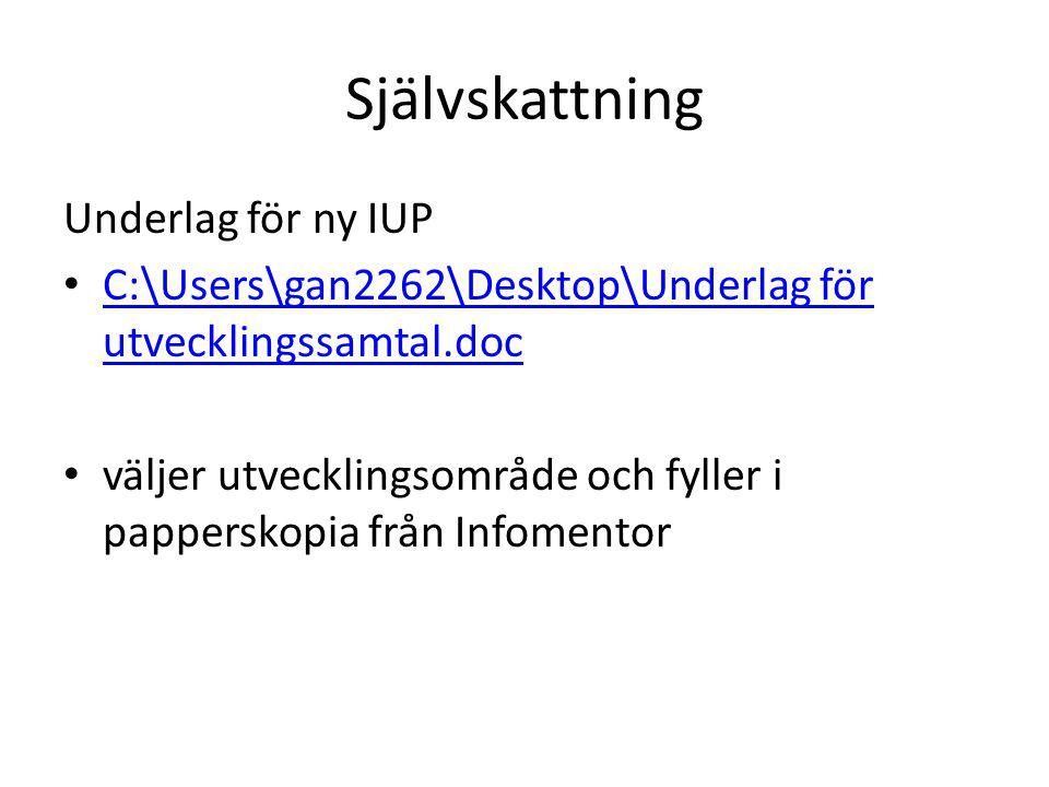 Självskattning Underlag för ny IUP