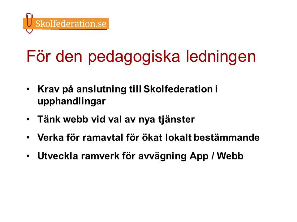 För den pedagogiska ledningen