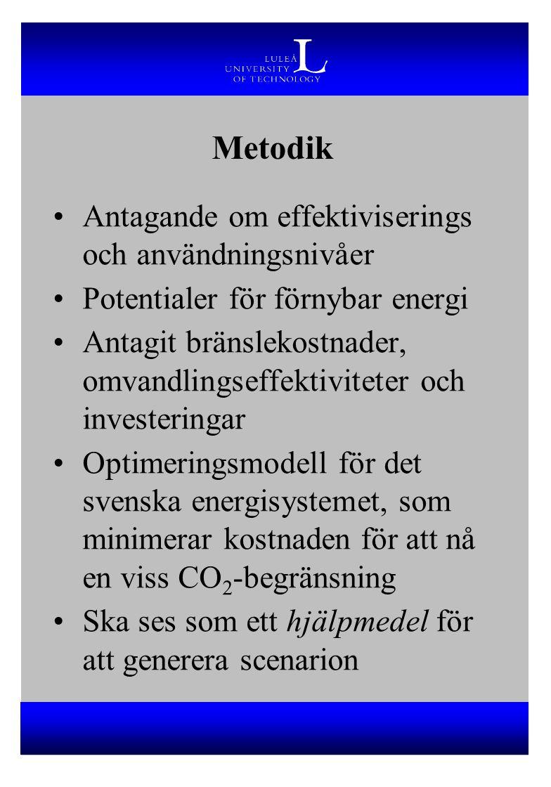 Metodik Antagande om effektiviserings och användningsnivåer