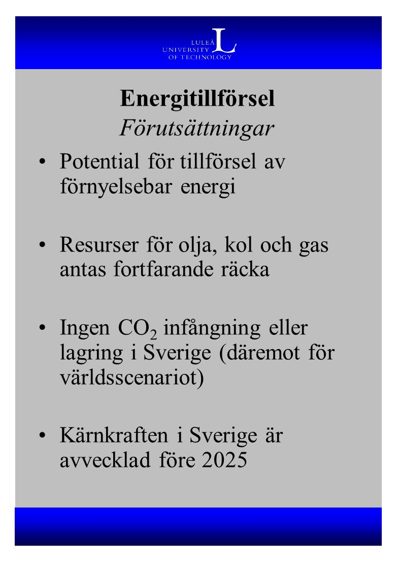 Energitillförsel Förutsättningar
