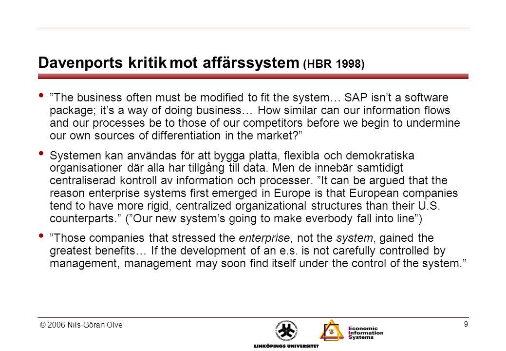 Affärssystemets roller (Linda Askenäs 2000)