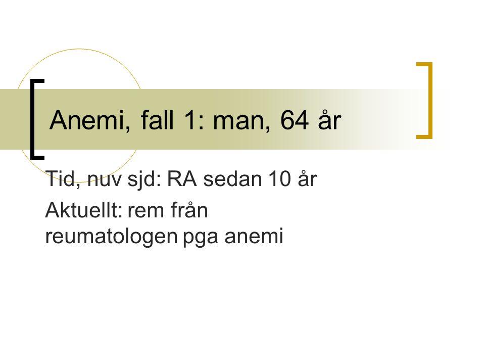 Tid, nuv sjd: RA sedan 10 år Aktuellt: rem från reumatologen pga anemi