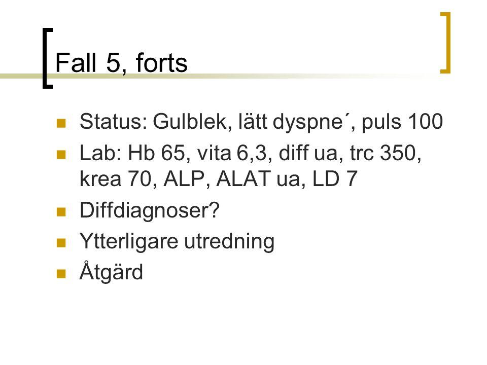 Fall 5, forts Status: Gulblek, lätt dyspne´, puls 100
