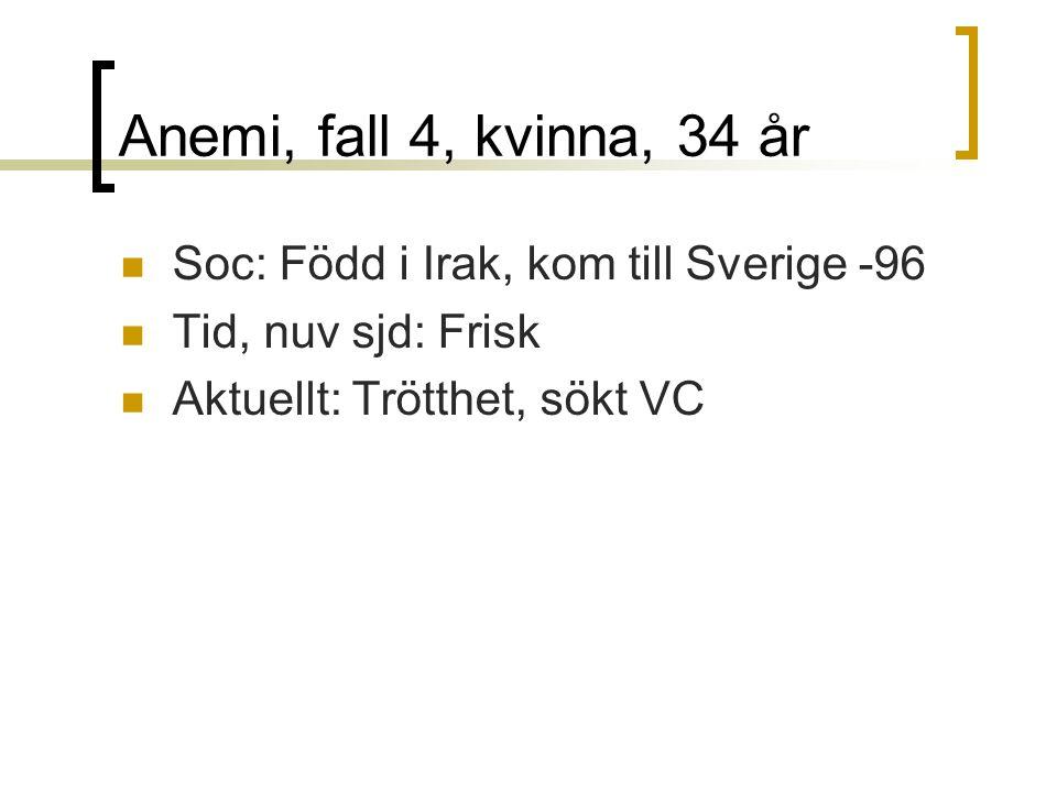 Anemi, fall 4, kvinna, 34 år Soc: Född i Irak, kom till Sverige -96