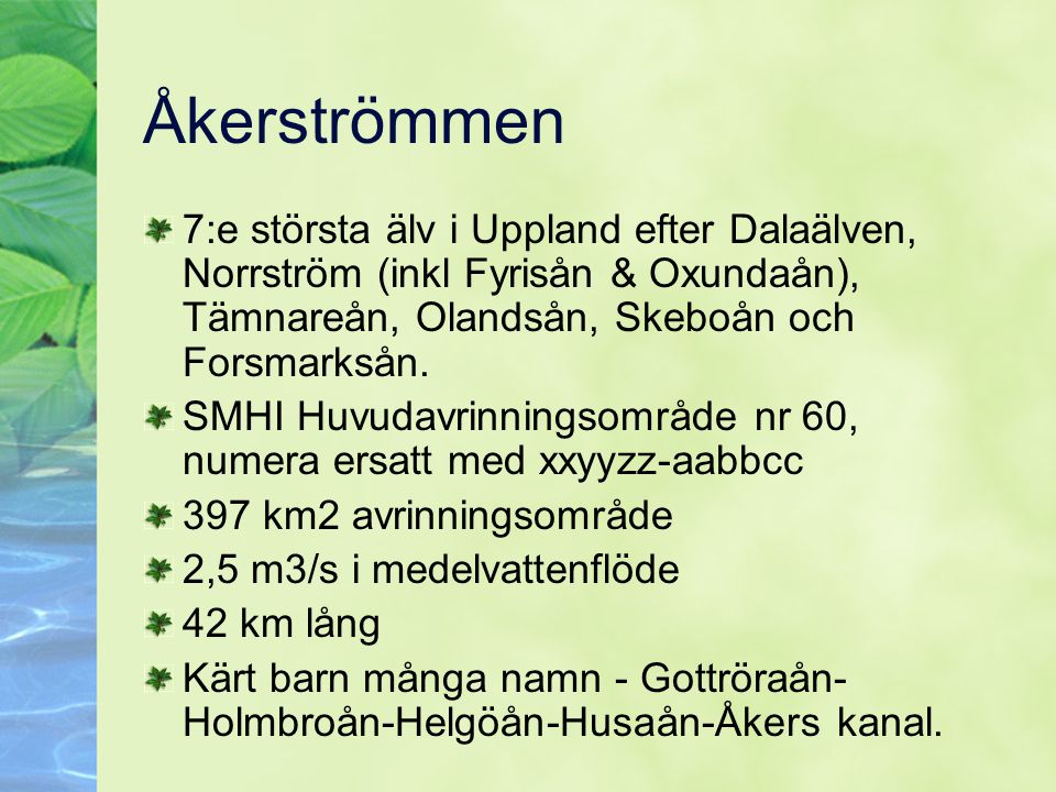 Åkerströmmen 7:e största älv i Uppland efter Dalaälven, Norrström (inkl Fyrisån & Oxundaån), Tämnareån, Olandsån, Skeboån och Forsmarksån.