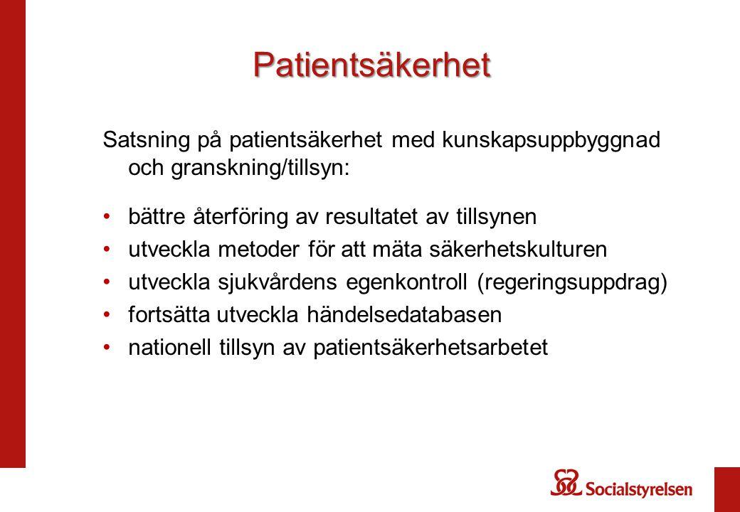 Patientsäkerhet Satsning på patientsäkerhet med kunskapsuppbyggnad och granskning/tillsyn: bättre återföring av resultatet av tillsynen.