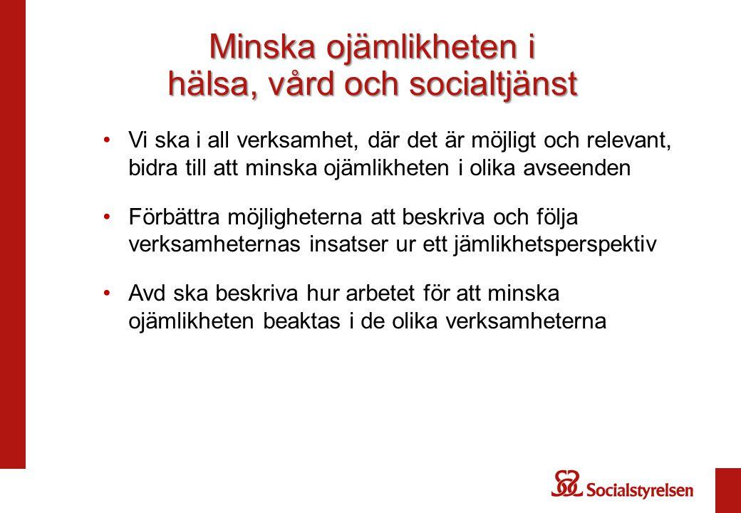 Minska ojämlikheten i hälsa, vård och socialtjänst