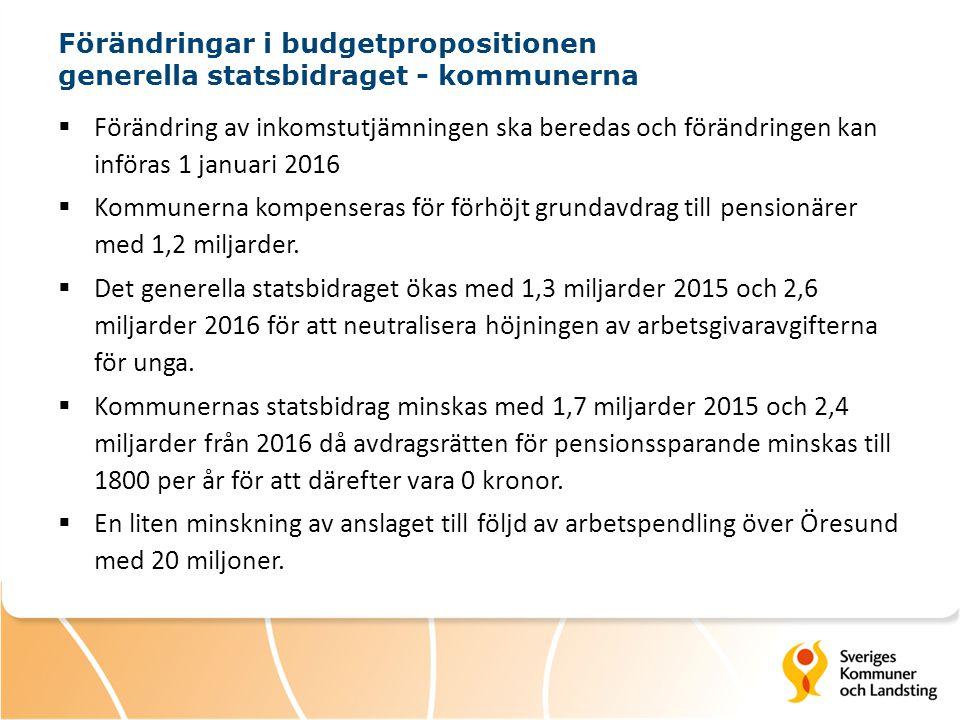 Förändringar i budgetpropositionen generella statsbidraget - kommunerna