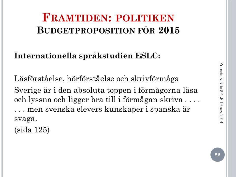 Framtiden: politiken Budgetproposition för 2015