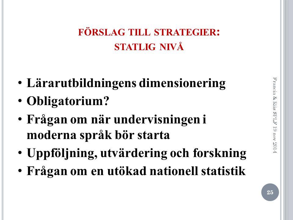 förslag till strategier: statlig nivå