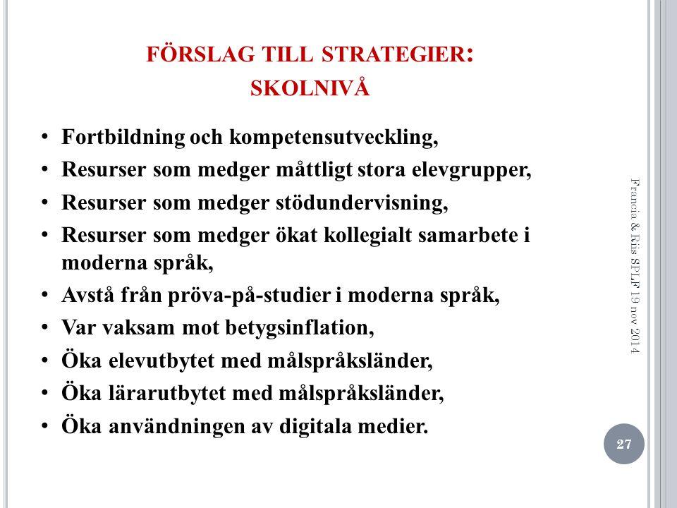 förslag till strategier: skolnivå