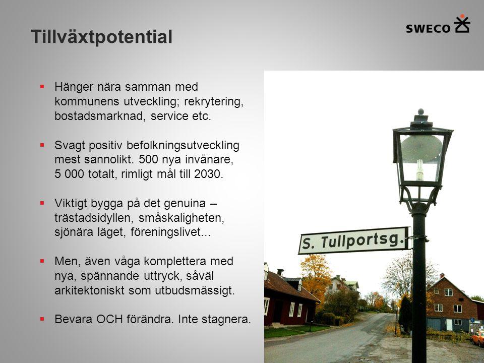 Tillväxtpotential Hänger nära samman med kommunens utveckling; rekrytering, bostadsmarknad, service etc.