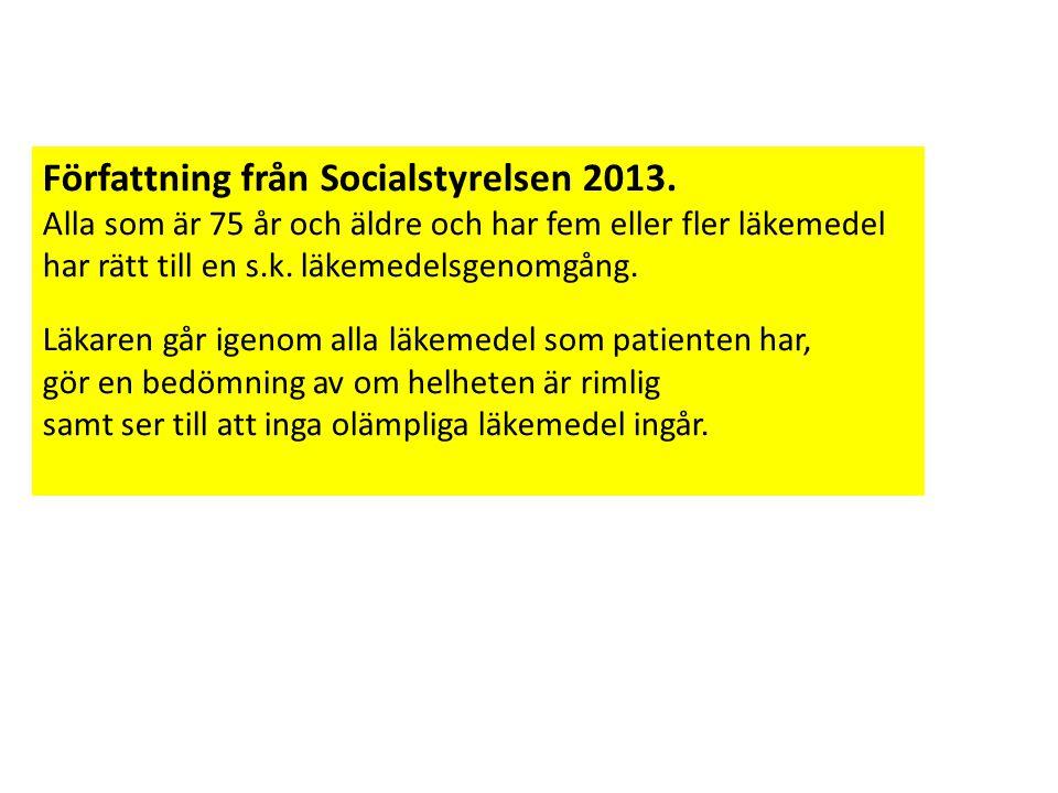 Författning från Socialstyrelsen 2013.