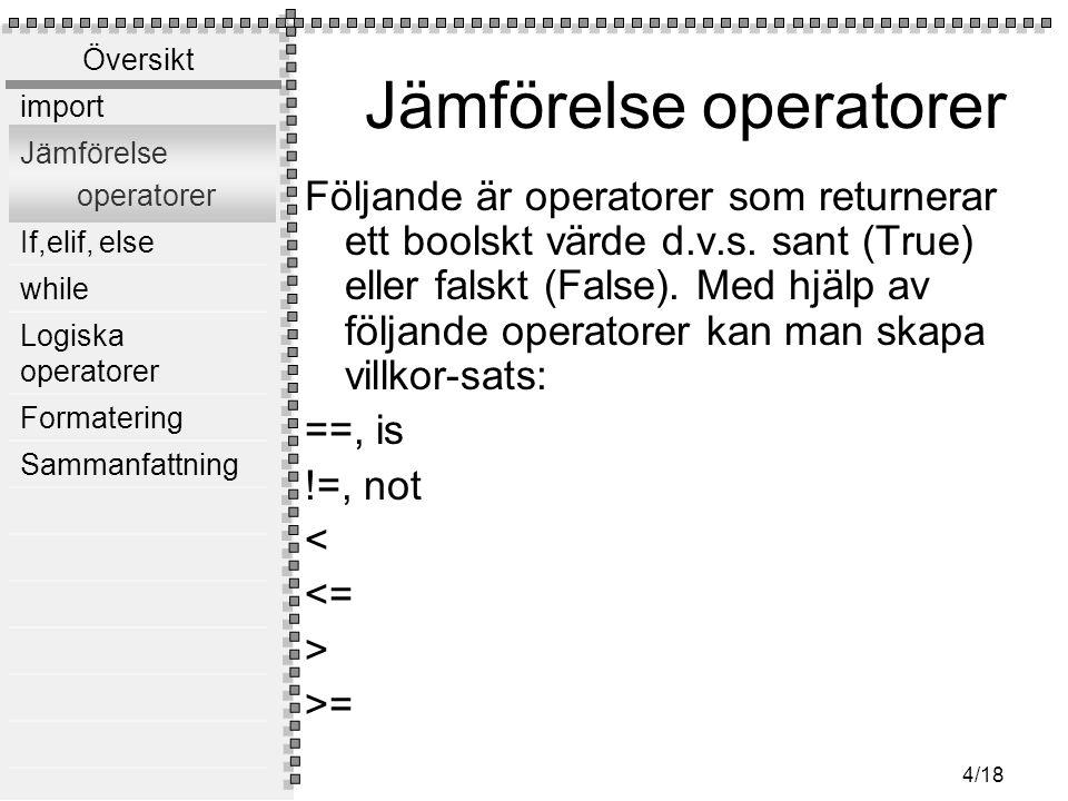 Jämförelse operatorer
