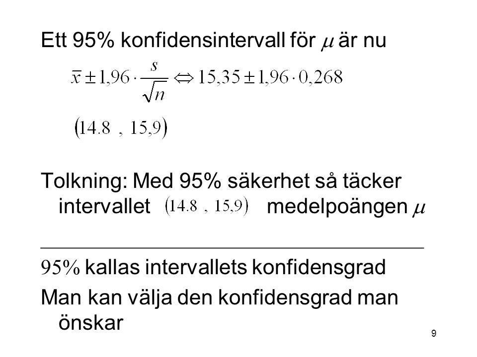 Ett 95% konfidensintervall för m är nu