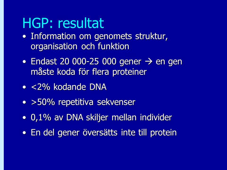 HGP: resultat Information om genomets struktur, organisation och funktion. Endast 20 000-25 000 gener  en gen måste koda för flera proteiner.