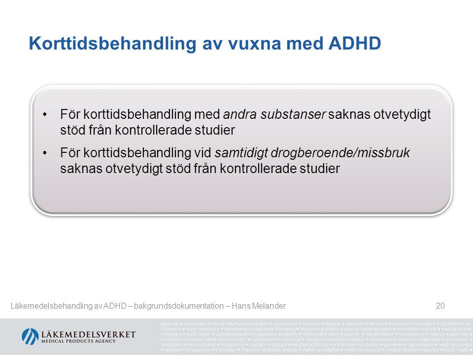 Korttidsbehandling av vuxna med ADHD