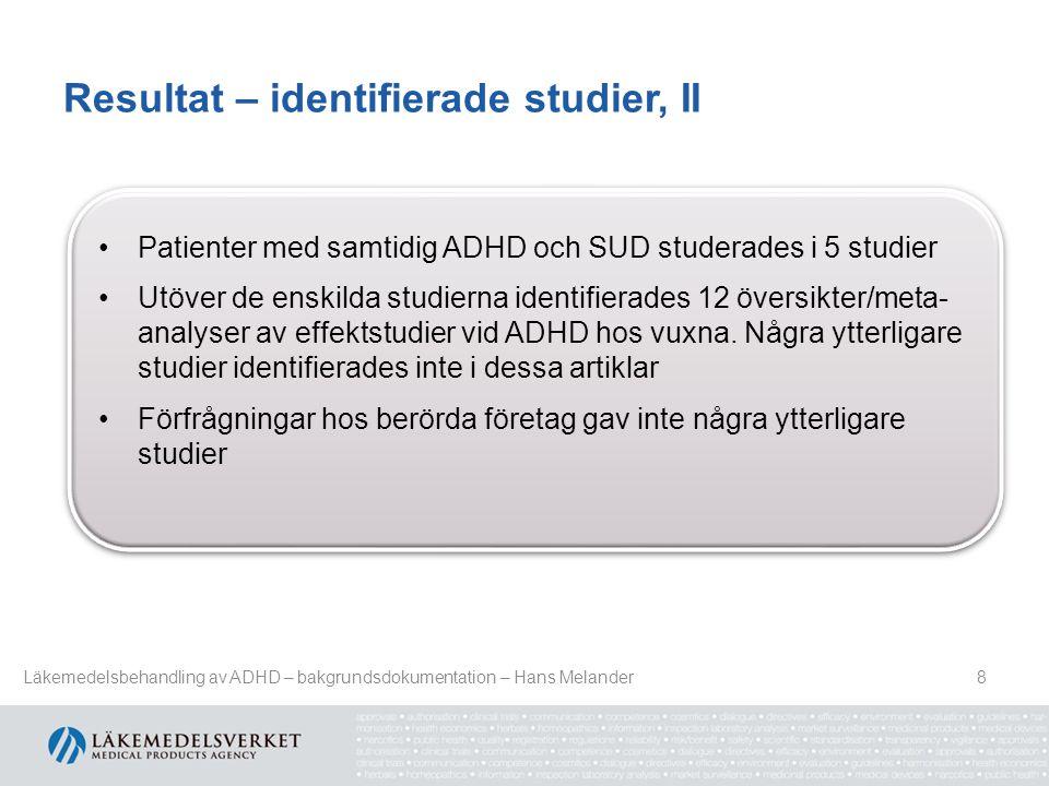 Resultat – identifierade studier, II