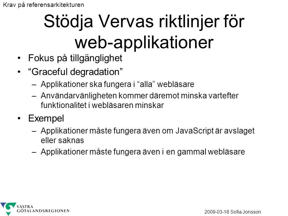 Stödja Vervas riktlinjer för web-applikationer