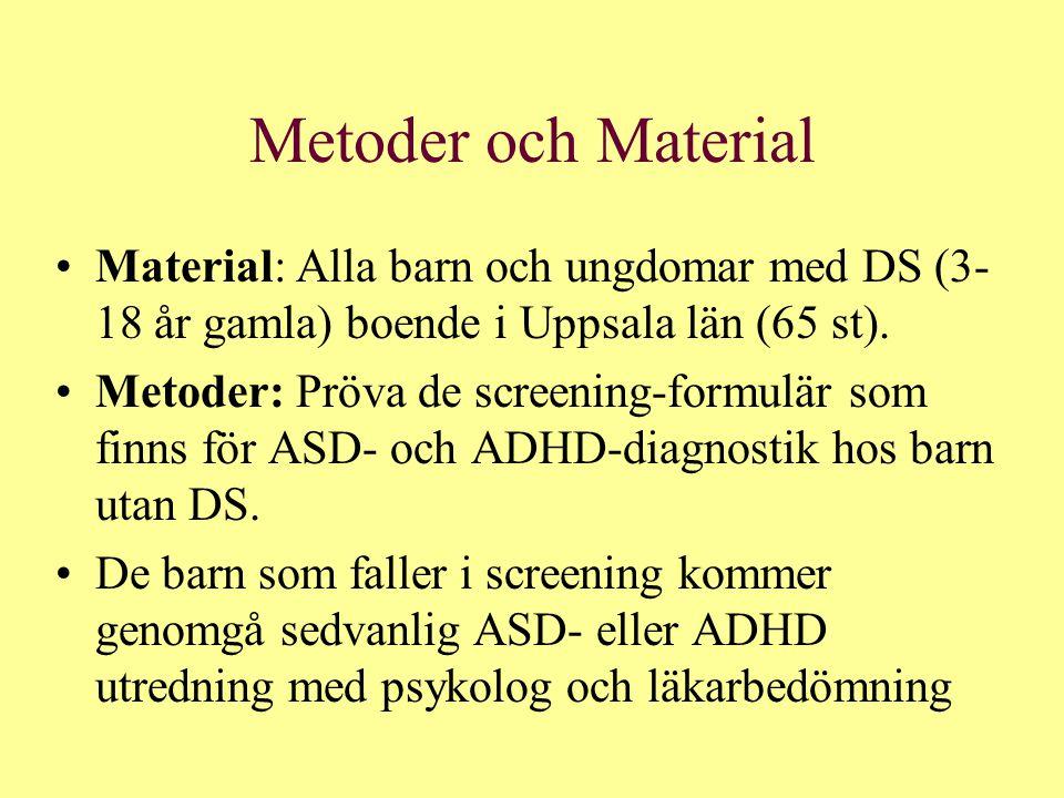 Metoder och Material Material: Alla barn och ungdomar med DS (3-18 år gamla) boende i Uppsala län (65 st).