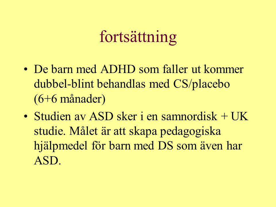 fortsättning De barn med ADHD som faller ut kommer dubbel-blint behandlas med CS/placebo (6+6 månader)