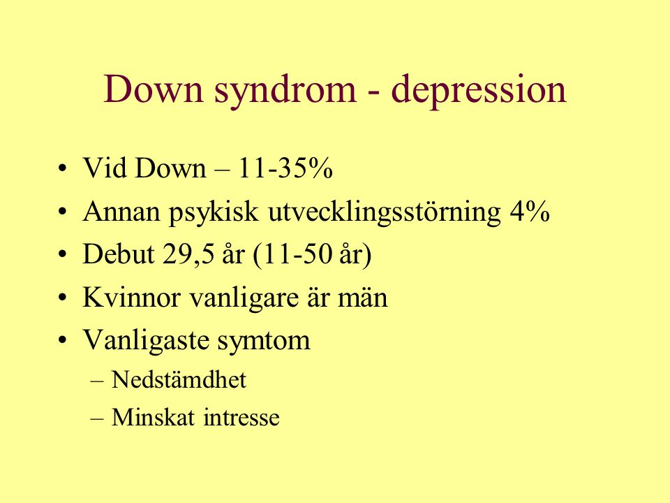 Down syndrom - depression