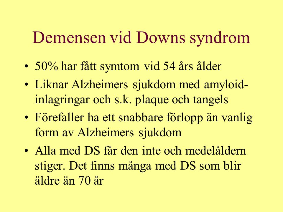 Demensen vid Downs syndrom