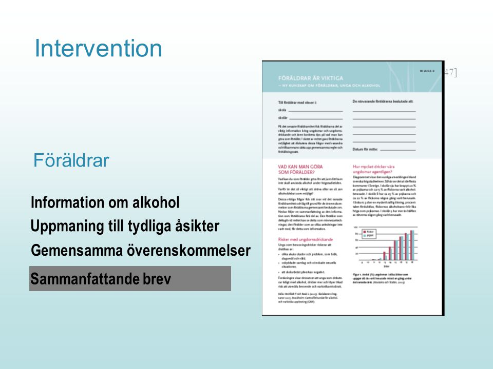 Intervention Föräldrar Information om alkohol