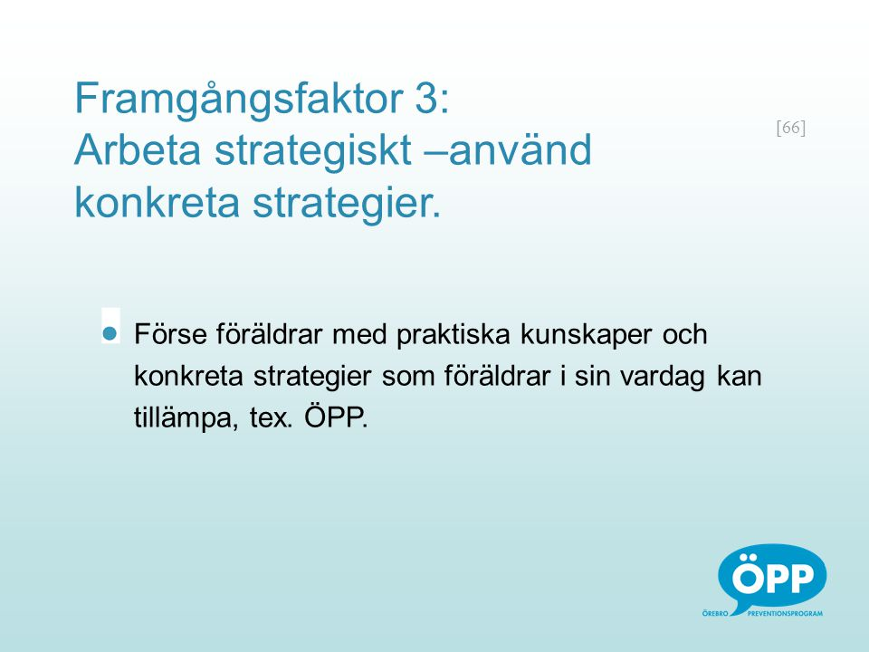 Framgångsfaktor 3: Arbeta strategiskt –använd konkreta strategier.