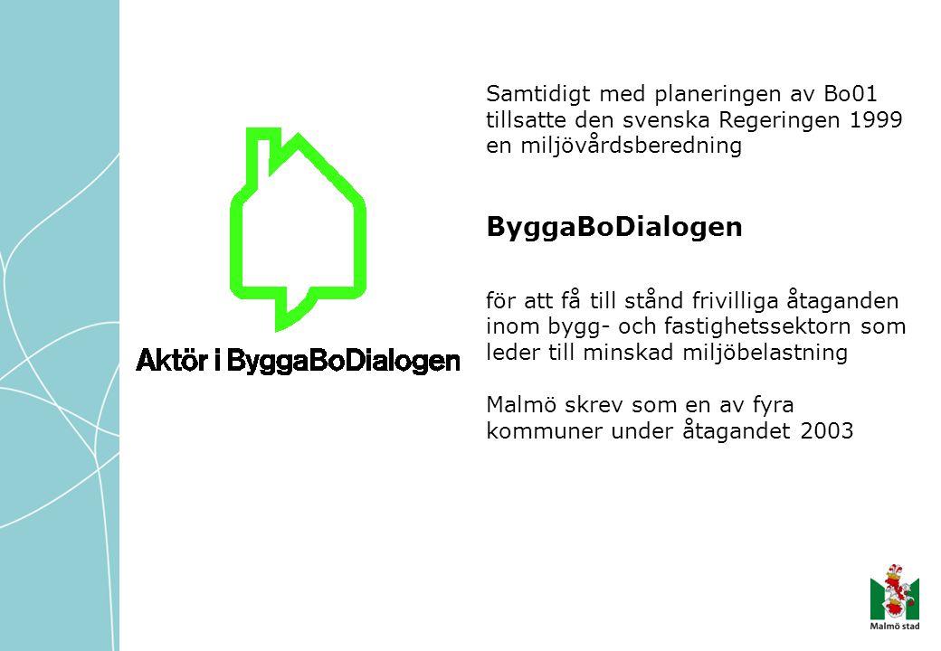 Samtidigt med planeringen av Bo01 tillsatte den svenska Regeringen 1999 en miljövårdsberedning ByggaBoDialogen för att få till stånd frivilliga åtaganden inom bygg- och fastighetssektorn som leder till minskad miljöbelastning Malmö skrev som en av fyra kommuner under åtagandet 2003