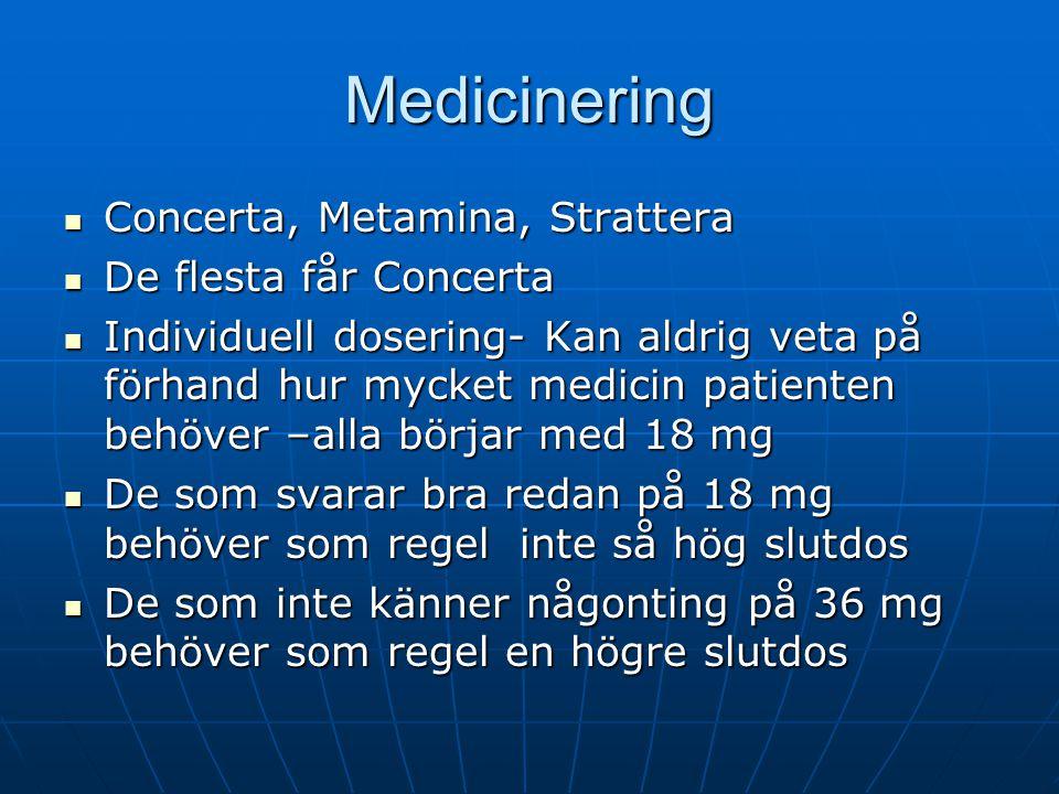 Medicinering Concerta, Metamina, Strattera De flesta får Concerta
