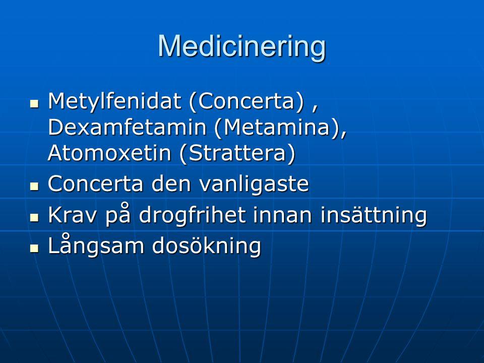 Medicinering Metylfenidat (Concerta) , Dexamfetamin (Metamina), Atomoxetin (Strattera) Concerta den vanligaste.