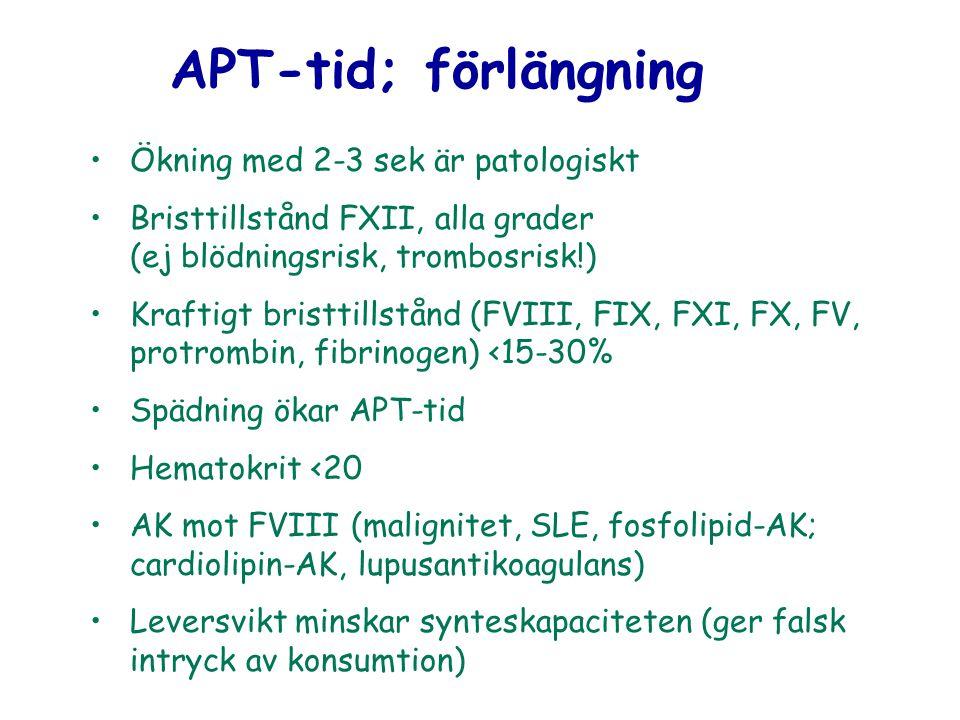 APT-tid; förlängning Ökning med 2-3 sek är patologiskt