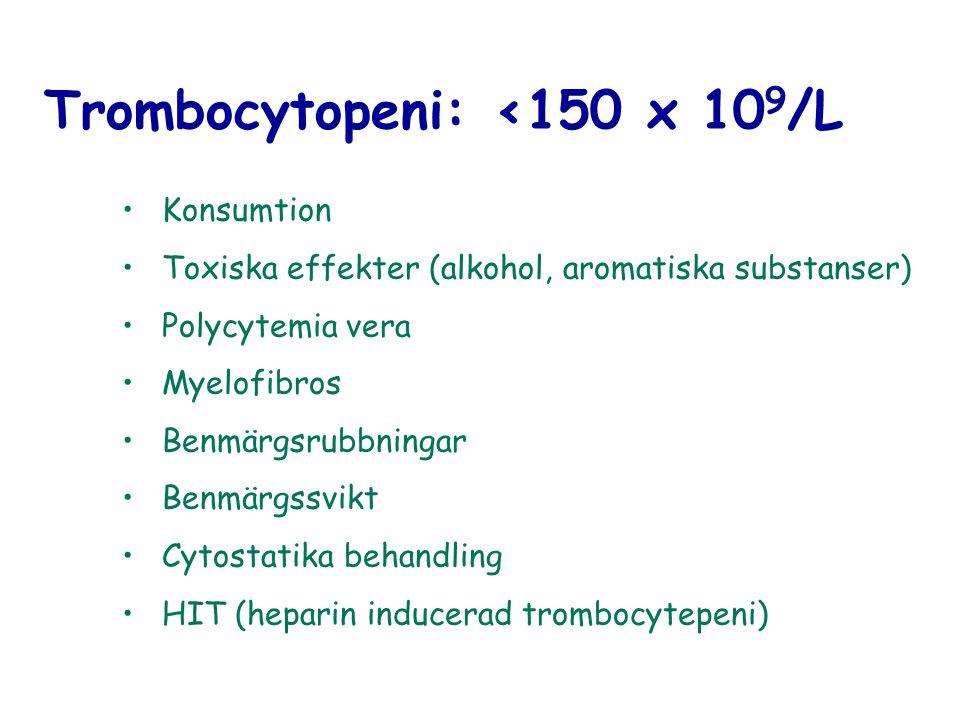 Trombocytopeni: <150 x 109/L
