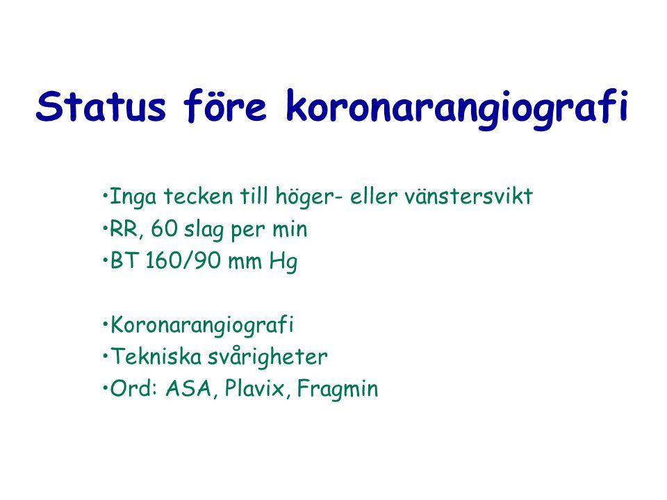 Status före koronarangiografi