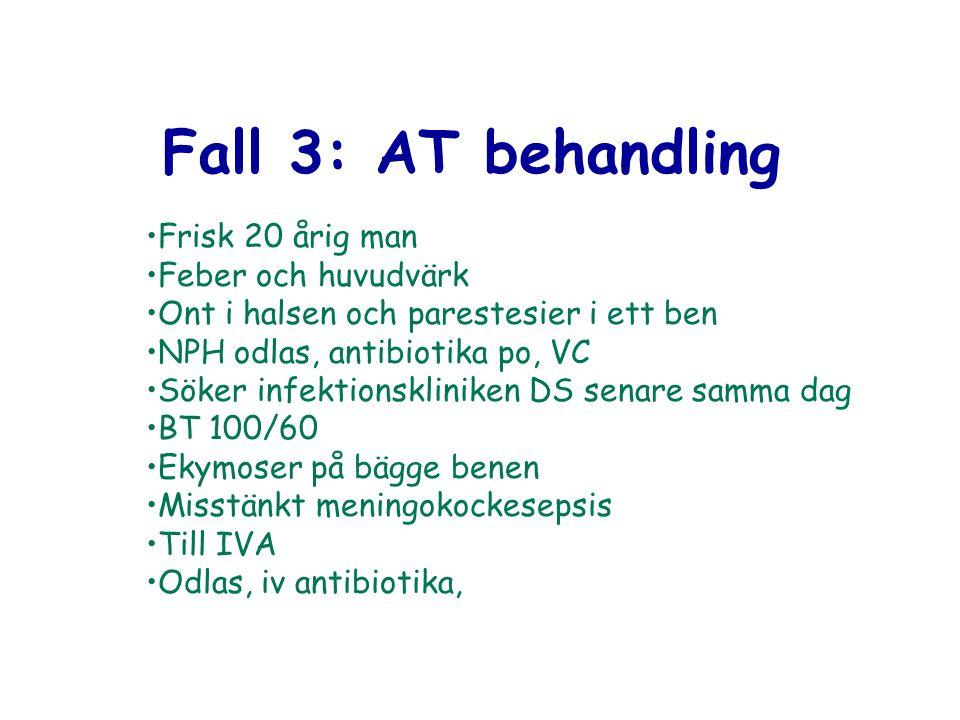 Fall 3: AT behandling Frisk 20 årig man Feber och huvudvärk