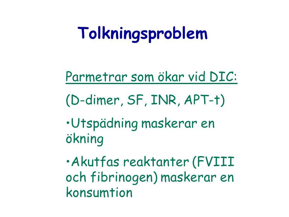 Tolkningsproblem Parmetrar som ökar vid DIC: (D-dimer, SF, INR, APT-t)