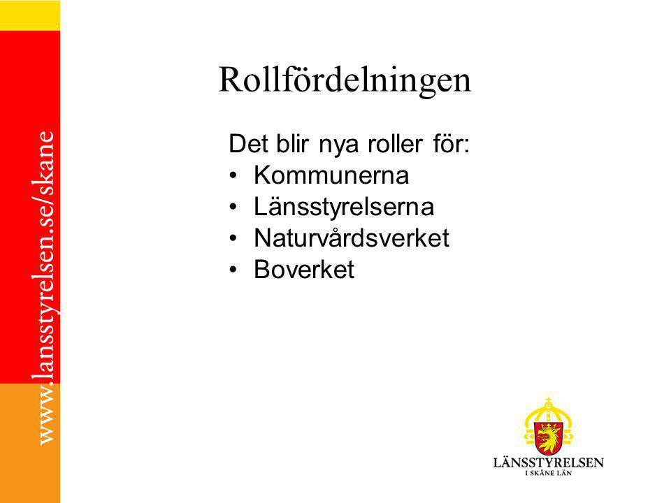 Rollfördelningen Det blir nya roller för: Kommunerna Länsstyrelserna