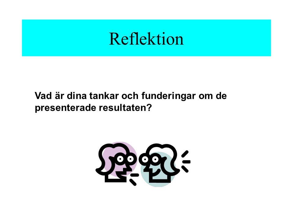 Reflektion Vad är dina tankar och funderingar om de presenterade resultaten