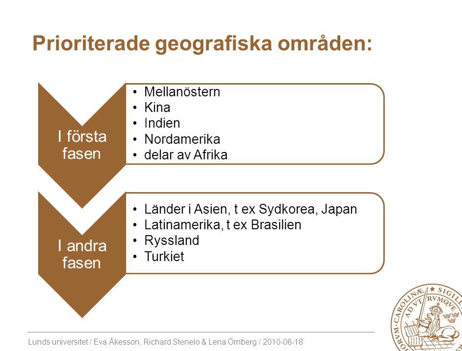 Prioriterade geografiska områden: