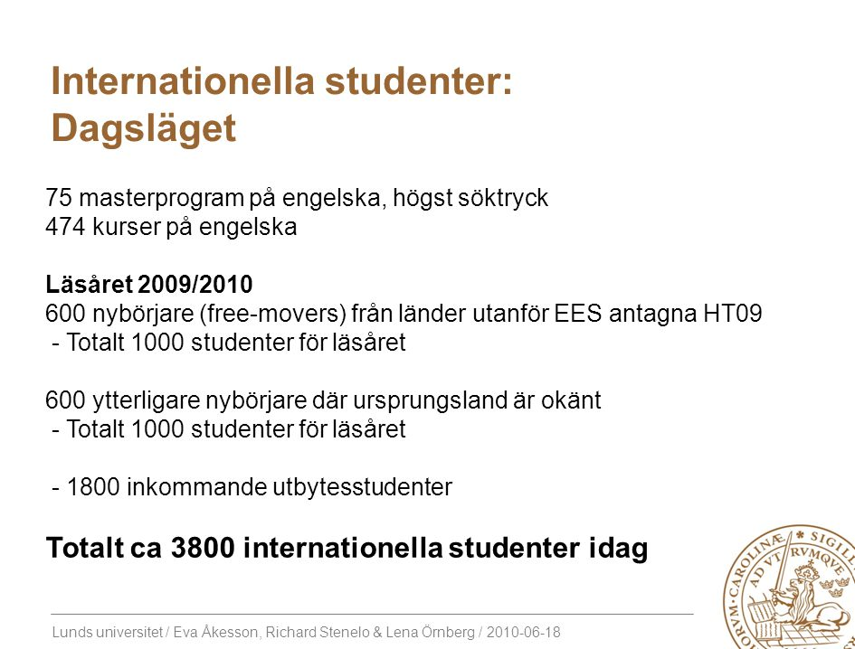 Internationella studenter: Dagsläget