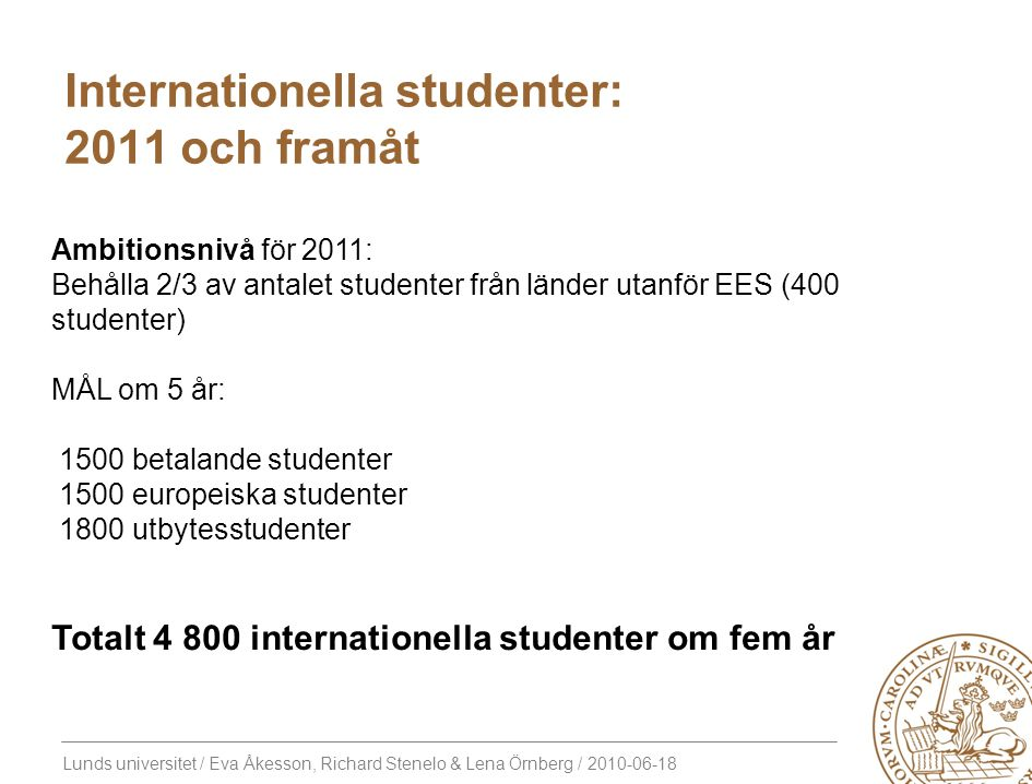 Internationella studenter: 2011 och framåt