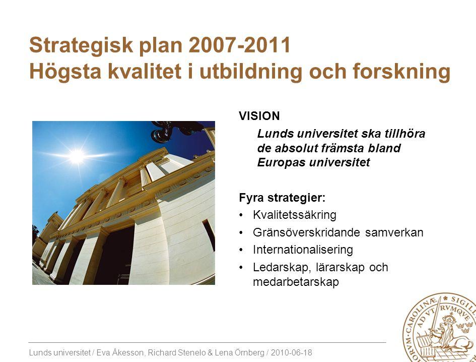 Strategisk plan 2007-2011 Högsta kvalitet i utbildning och forskning