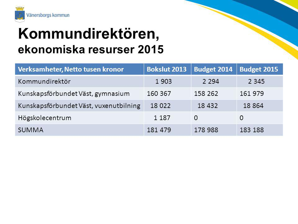 Kommundirektören, ekonomiska resurser 2015