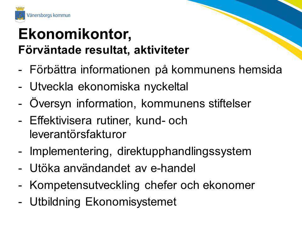 Ekonomikontor, Förväntade resultat, aktiviteter